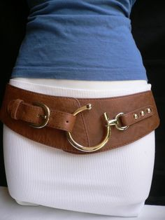 "NEW WOMEN WESTERN WIDE BROWN FAUX LEATHER BELT SILVER HOOK BUCKLE 27""-37"" S-M-L 