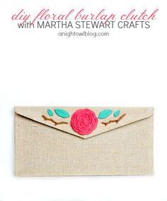 DIY Floral Burlap Clutch with Martha Stewart Crafts | #diy #marthastewartcrafts #12monthsofmartha