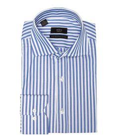 Alara blue stripe cotton spread collar dress shirt