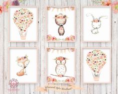 6 Deer Fox Bunny Rabbit Bear Boho Print Wall Art Woodland Nursery Baby Girl Bohemian Floral Owl Raccoon Room Prints Printable Décor decor by Pink Forest Cafe Welcome to Pink Forest Café! Your one stop shop for all things printable! Wall Art, Stationery, Invitations and Announcements, Party Signs, Home and Nursery Décor and more! Wall Prints now available - any design. Email PinkForestCafe@gmail.com for details. This listing is for 6 printable 8x10 files*. Your files will be full…