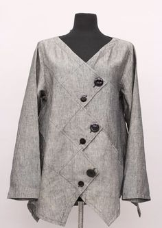 Prisa Collection Berlin Designer Linen A Jacket - DIY & Crafts Sewing Clothes, Diy Clothes, Clothes For Women, Gray Jacket, Jacket Style, Jacket Buttons, Fashion Sewing, Linen Dresses, Clothing Patterns