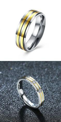 Rings 3 Times Then Beeps Gold Stripe Simple Zircon Stainless Steel Ring Women Men Gift Wedding