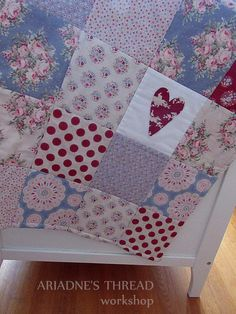 Patchwork Baby Quilt SweetHeart collection by AriadnesThreadWkshop