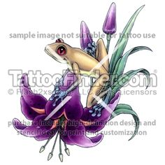 Lily Frog tattoo design by Gail Somers
