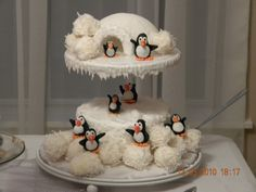 Penguin christmas cake. White coconut cake w/white chocolate mounds balls and sugar igloo