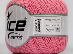 Summer Viscose Pink  Ne: 10/3  600d. Viscose. Nm: 17/3 Fiber Content 72% Mercerised Cotton, 28% Viscose, Pink, Brand Ice Yarns, Yarn Thickness 1 SuperFine  Sock, Fingering, Baby, fnt2-49874 Ice Yarns, Ice T, Line Shopping, Pink Brand, Finger, My Favorite Things, Content, Summer, Crafts