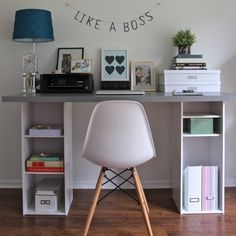Ikea desk from shelves and a top