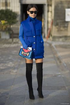 Miroslava Duma buttoned up in the most brilliant shade of blue. #streetstyle at Paris Fashion Week Fall 2014 #PFW