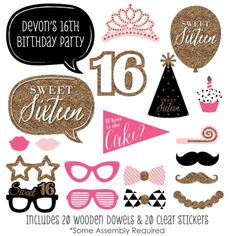 Chic 16th Birthday  Pink Black and Gold  by BigDotOfHappiness