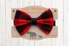 Fabric Bow Headband, Fabric Bow Clip-on || Buffalo Plaid Fabric Bow on Black Elastic Band or Clip Mounted by mamasluckyelephant on Etsy