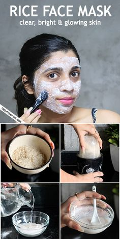 Clear Skin Face Mask, Glowing Face, Skin Mask, Face Skin Care, Clear Face, Face Face, Face Diy, Rice Water For Face, Natural Hair Mask