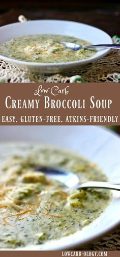 Low Carb Meals - Creamy, low carb cream of broccoli soup is serious comfort food. It' so easy to make and less than 4 net carbs per serving. This recipe makes 2 generous servings. Cream Soup Recipes, Low Carb Soup Recipes, Broccoli Soup Recipes, Keto Recipes, Cooking Recipes, Low Carb Cream Of Broccoli Soup Recipe, Broccoli Salad, Keto Foods, Ketogenic Recipes