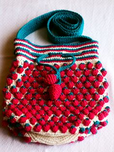 . Crochet Rockstar: Strawberry Drawstring Bag