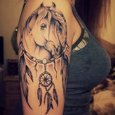 In love with this horse dream catcher tattoo!! #horse #dreamcatcher #tattoo…
