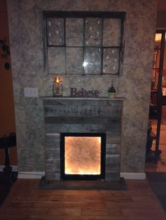 fireplace mantle made from pallets | Decor Ideas | Pinterest ...