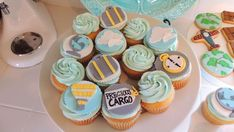 Vintage travel baby shower  party cupcakes! See more party planning ideas at CatchMyParty.com!