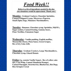 Next week is Fun With Food Week! Here is a guide to what we need each day for recipes and activities. On MONDAY, we need: Graham Crackers, Chocolate Sprinkles, Canned Whipped Cream, Microwave Popcorn, Small Ziploc bags, and Miniature Marshmallows. All donations are welcome. Thank you!