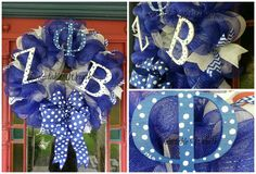 Zeta Phi Beta Wreath Phi Beta Sigma, Sorority Crafts, Sorority And Fraternity, How To Make Wreaths, Event Planning, Christmas Decorations, Glass Room, Blue And White, Crafty