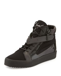 Men's Paneled High-Top Sneaker by Giuseppe Zanotti at Neiman Marcus.