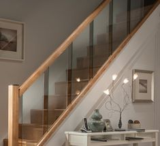 Glass Stair Railing Balustrade, Timber and Glass Handrails Modern Stair Railing, Stair Handrail, Modern Staircase, Staircase Design, Banisters, Glass Handrail, Glass Stairs, Oak Stairs, Glass Balustrade