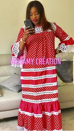 Rouge Long African Dresses, African Lace Styles, African Attire, African Wear, Abaya Fashion, Fashion Outfits, Shweshwe Dresses, African Fashion Ankara, Africa Fashion