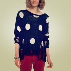 Black & White // Ripped Dot Sweater Black and white polka dot sweater with ripped detail at the bottom and bottom of sleeves. Worn only once! Size S/M. Tobi Sweaters Crew & Scoop Necks