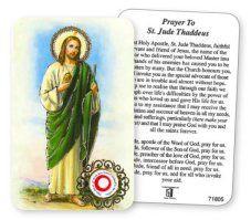 Saint Jude laminated prayer card with relic. St Jude Prayer, Saint Christopher, Prayer Cards, St Francis, All Saints, Saint Jude, Prayers, Baseball Cards, Fashion