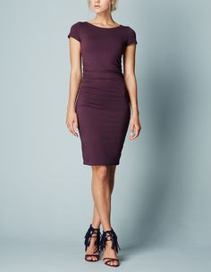 Size 4, 6, 8? / Ruched Detail Dress in Indian Plum / Boden / $110 / 95% Cotton, 5% elastane / Says it is lined? Wear w/ cognac sandals