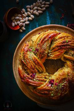 Saffron, Rose and Pistachio Bread – My Indian Holiday Wreath Bread Saffron, Rose & Pistachio Bread / Indian Holiday Wreath Bread Bread And Pastries, Indian Food Recipes, Vegetarian Recipes, Cooking Recipes, Bread Recipes, Pistachio Bread, Pistachio Recipes, Saffron Recipes, Bread Art