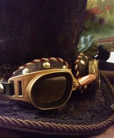Steampunk Goggles Brass colored with Clear Lens. Handmade Unique design, cosplay, burning man on Etsy, $29.00