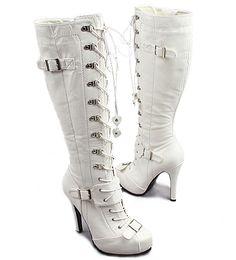 [SHOESONE.BIZ] 0680  Lace-up Hidden Platform White Boots (12cm)