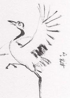 Lin Li's Chinese Art: Original Art Chinese Sumi-E Brush Painting ACEO Crane