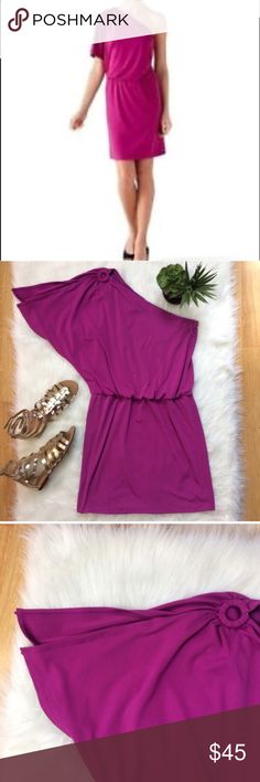 "White House Black Market Purple One Shoulder Dress Gorgeous one shoulder dress from White House Black Market. Color is Magenta. Elastic waist measures 16.5"" unstretched. White House Black Market Dresses One Shoulder"