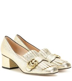 ba10e98b045 Gucci - Metallic leather loafer pumps - We love the fringed update to these  loafer-
