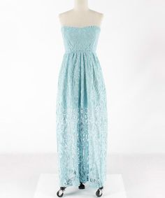 Light blue lace patterned strapless maxi