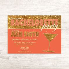 Glitter Gold & Coral Bachelorette Party by LilygramDesigns on Etsy