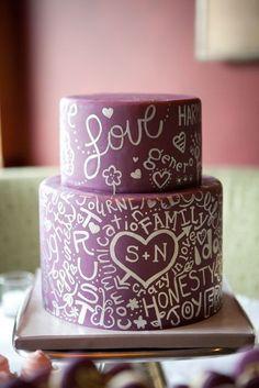 #KatieSheaDesign ♡❤ ❥  Hand painted #Wedding cake PurpleWords