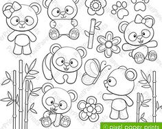Kawaii animals Digital Stamps por pixelpaperprints en Etsy