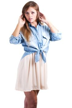 Fashion Exit Chambray Denim Button Down Tie Waist « Clothing Impulse