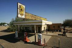 An old gas station along Route 66 is preserved on June 16, 2007 in Newberry Springs, California.