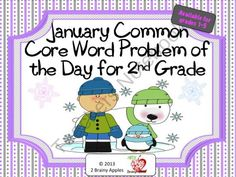 2nd Grade Common Core Word Problem of the Day- January product from 2-Brainy-Apples on TeachersNotebook.com