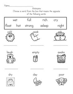 Free Synonym Antonym Word Work Worksheet