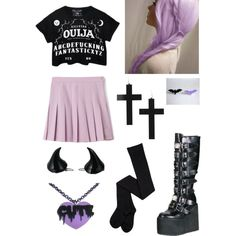 Pastel Goth by pipertehcat on Polyvore featuring Demonia, Kreepsville 666 and pastelgoth