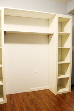Would like to do something like this in the closet.  Need room for a desk and also to hang clothes...
