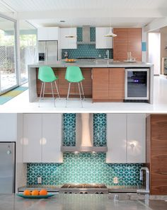 9 Inspirational Kitchens With Geometric Tiles // Blue diamond tiles with white grout make the kitchen of this home lively and fun.