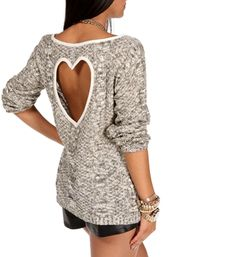 Ivory/Black Heart Back Sweater at HelloShoppers