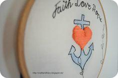 Faith - Love - Hope Embroidery Pattern