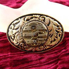 Steampunk mens Belt Buckle Gold Tone Antique by DesignerKayStyle, $49.99