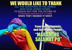 I was blessed that my loved ones in the Philippines are safe. I wish I had the means to help the victims, but my sincerest gratitude to everyone that has made donations and helped my beloved country in its time of need.