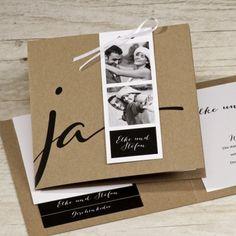 Kraftpapier Hochzeitseinladung mit Foto   besondere Hochzeitseinladung aus Kraftpapier mit Fotos
